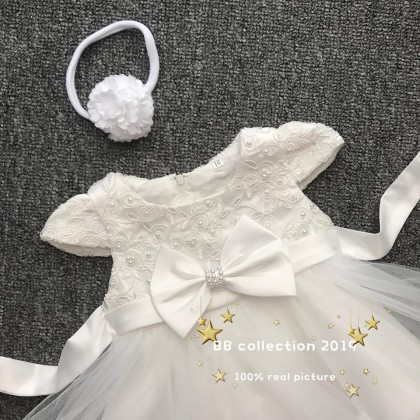 PRINCESS BABY GOWN 433-MY20*4 (W HAIRBAND) 68012