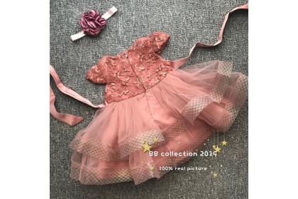 PRINCESS BABY GOWN 433-MY20*4 (W HAIRBAND) 68012