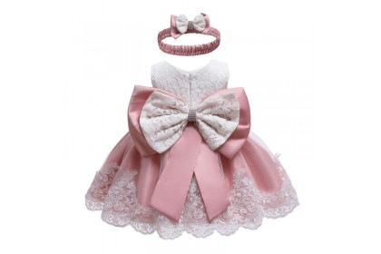 PRINCESS BABY GOWN 457-OT19*2 W HAIRBAND