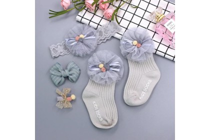 BABY SOCKS + HAIRBAND +HAIRCLIP (SET4)- 4PC SET *1
