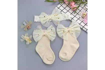 BABY SOCKS + HAIRBAND +HAIRCLIP (SET7)- 4PC SET *1