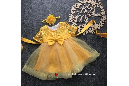 PRINCESS BABY GOWN 511-MR20*4 (W HAIRBAND)