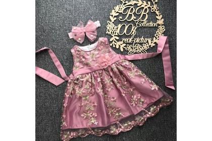 PRINCESS BABY GOWN 514-FB20*4 (W HAIRBAND)