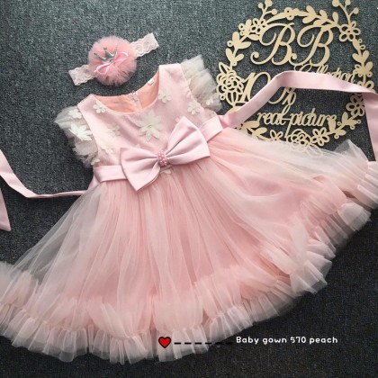 PRINCESS BABY GOWN 570-AR20*4 (W HAIRBAND) 8978