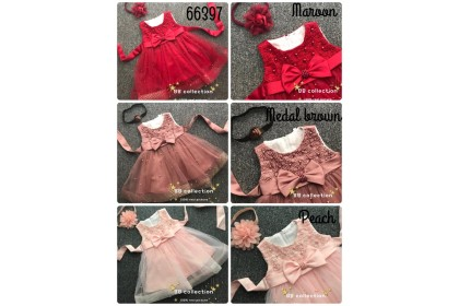PRINCESS BABY GOWN 587-MY20*4 (W HAIRBAND) 66397