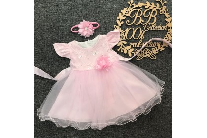 PRINCESS BABY GOWN 593-MY20*4 (W HAIRBAND) 66430