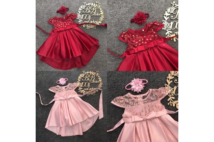 PRINCESS BABY GOWN 594-MY20*4 (W HAIRBAND) 66634