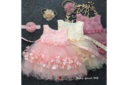 PRINCESS BABY GOWN 598-MY20*4 (W HEADBAND) 1986