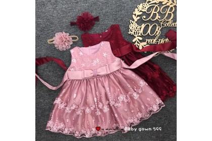 PRINCESS BABY GOWN 599-MY20*4 (W HEADBAND) 66446
