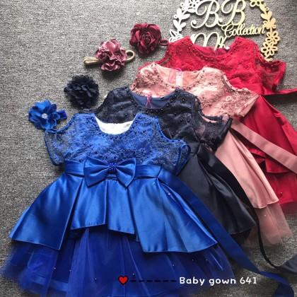 PRINCESS BABY GOWN 641-OT*4 (W HEADBAND) 66536