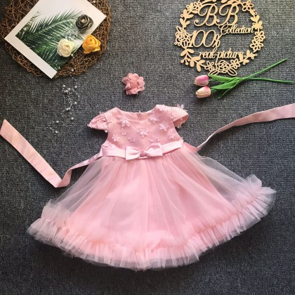 PRINCESS BABY GOWN 689-AR21*4 (W HEADBAND) 8978-1 SZ16-17-18-19/60-100